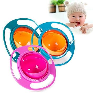 Children Kid Baby Toy Universal 360 Rotate Spill-Proof Bowl Dishes Cute Baby Dinner Plate Fast Shipping