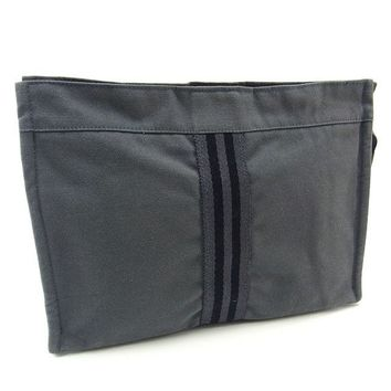 Hermes Clutch bag Second bag Fourre Tout Grey Black Woman Authentic Used Y1966