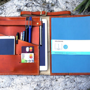 Ipad Air and  Moleskine X Large case orange,  Travel journal, Composition notebook cover , Leather Ipad cover, Moleskine Cover, Personalized