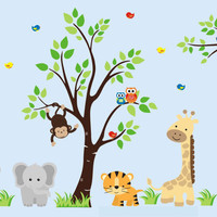 "Nursery Wall Decals, Animal Wall Art, Zoo Animal Wall Art, African Safari Animal Decals, Children's Wall Decals and Decor - 58"" x 96"""