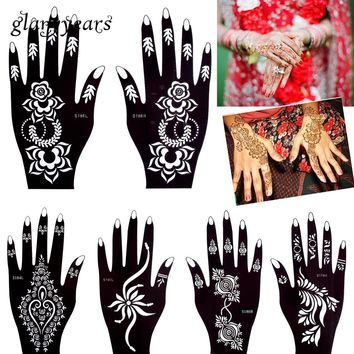 glaryyears 32 Designs 1 Pair Flower Lace Hands Henna Stencil Glitter Airbrush for Women Hand Makeup Paint Mehndi Tattoo Template