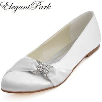Woman White Ivory Bridal Wedding Flats Comfort lady Ballet Round 0556ec883652