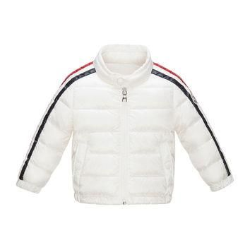 Zabelle Long Striped-Sleeve Puffer Jacket, White, Size 12 Months-3, WHITE - Moncler