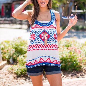 Multicolor Geometric Print Loose Tank Top