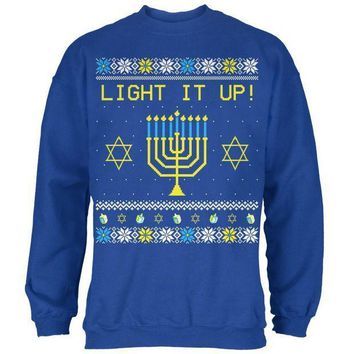 ICIK8UT Hanukkah Light It Up Ugly Christmas Sweater Mens Sweatshirt