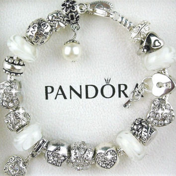 Authentic Pandora Sterling Silver Bracelet with Heart Love Pearl European Charms