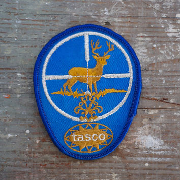 Vintage Tasco Embroidered Patch Applique Deer Hunting Motif Blue, Silver and Gold