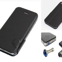 """""""Black"""" Bracket Phone Holder Flip Stand Wallet Case Cover With Magnetic Closure Flap For Apple Iphone 5 (INCLUDED: MATTE, ANTI-GLARE FRONT & BACK PROTECTORS + DIAMOND EARPHONE DUST PLUG)"""