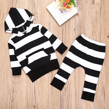 2pcs Baby Clothes Set Baby Unisex Black White Stripe Long Sleeve Hoodies Tops+ Pants Outfits Boys Girls Cotton Clothing