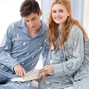 New Korean long sleeved pajamas cotton clothing Home Furnishing cartoon couple loose code