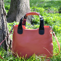 LEATHER TOTE  Bag, Red Cowhide Bag, Laptop Bag, Leather Shoulder Bag, Red Leather Tote Bag