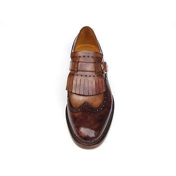 Paul Parkman Men's Wingtip Monkstrap Brogues Brown Hand-painted Leather Shoes (Id#060)