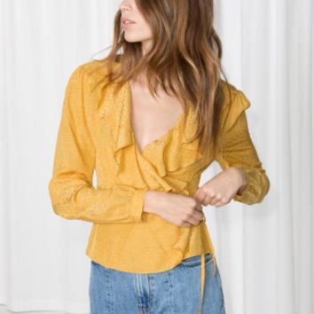 & Other Stories | Ruffle Wrap Blouse | Yellow