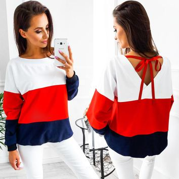 2017 Autumn Winter O-Neck Long Sleeve loose Pullovers  back V collar Warm Blouse Women Knitted Sweatshirts pull femme tops