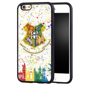 Harry Potter Hogwarts Printed Soft Rubber Mobile Phone Case OEM For iPhone 6 6S Plus 7 7 Plus 5 5S 5C SE 4 4S Back Cover Shell