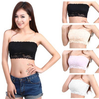 Womens Sexy Lace Casual Crop Boob Tube Top Bandeau Bra Strapless Seamless Solid(Fit Bust:58-100cm / 22.83inch -39.37inch) = 1931858884