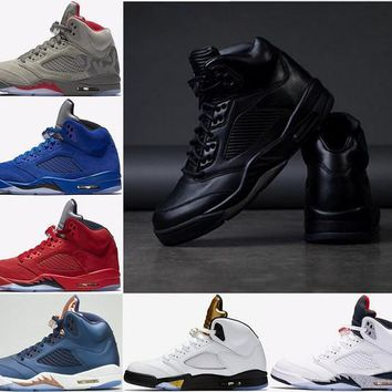 2017 Air Retro 5 Premium Triple Black Men Basketball Shoes White Cement Red suede Blue