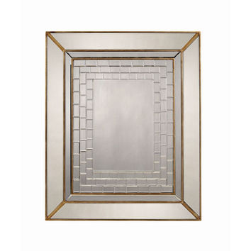 Bassett Mirror Company M3240BEC Wood and Mirror Frame with Beveled Mirror Tiles Decorative Mirror