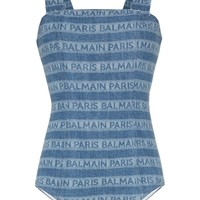 Tonal Denim Striped Logo by Balmain