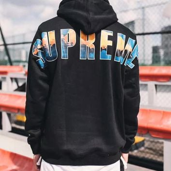 Supreme Fashion Casual Pattern Letter Print Hooded Top Sweater Pullover