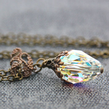 Clear Crystal Necklace Aurora Borealis Teardrop Swarovski Crystal Necklace Victorian Jewelry Filigree Brass Clear Crystal Pendant Necklace