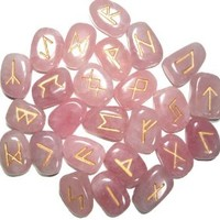 Rose Quartz Gemstone Runes with Engraved Lettering and Velvet Bag