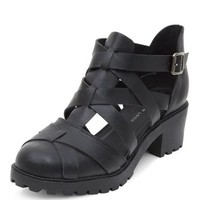 Wide Fit Black Criss Cross Caged Ankle Boots
