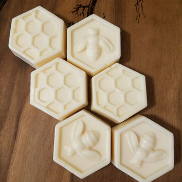 Set of 6 bags - Miniature Honeycomb Soap favors - Goat's Milk and Honey
