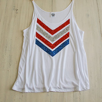 Tank Top Sequin Chevron Tank Tee T Shirt - Red White and Blue USA 4th of July America American Flag Liam Payne