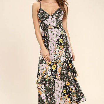 Incense and Peppermints Black Floral Print Maxi Dress