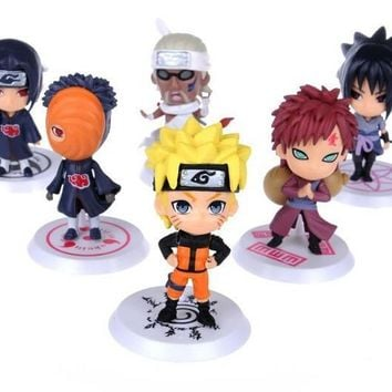 Naruto Sasauke ninja 6Pcs/Set 2018 anime  sasuke Figure Set Figurine PVC Toy Action Figure Japanese model builiding 7cm Classic Toys AT_81_8