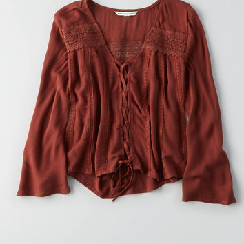 AEO Lace-Up Crop Top , Brick Red