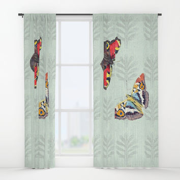 Summer's sojourn with butterflies Window Curtains by anipani