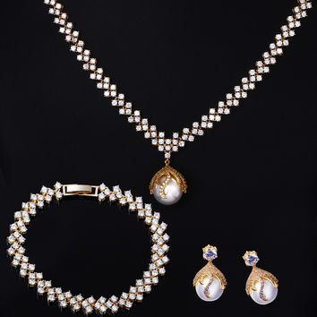 18k Real gold plated White Pearl Jewelry sets Necklace / Earrings / Bracele  Cubic Zirconia Setting Bridal Wedding Jewelry Sets