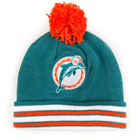 Caps - Knit - Mitchell and Ness Striped Cuff Knit Beanie with Pom - Miami Dolphins - DTLR - Down Town Locker Room. Your Fashion, Your Lifestyle! Shop Sneakers, Boots, Basketball shoes and more from Nike, Jordan, Timberland and New Balance