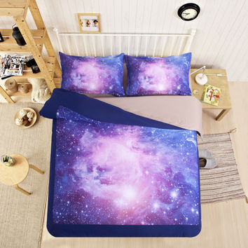 Colour stars Hipster Galaxy 3D Bedding Sets Universe  Space Duvet cover Bed Sheet  Fitted  Sheet pillowcase Twin queen king size