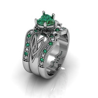 Sterling Silver Created Heart Emerald Celtic Knot  Love and Friendship Engagement and Promise Solitaire Ring Trio Set