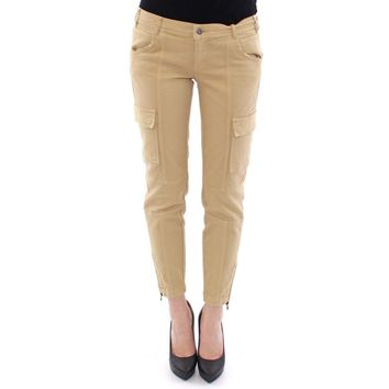 Dolce & Gabbana Beige Cotton Cargo Cropped Pants
