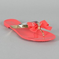 Bamboo Hawaii-07 Jelly Bow Thong Flat Sandal