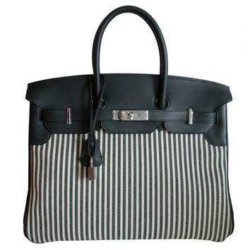 Hermes Gris Fonce Toile Stripe Birkin Bag 35CM Limited Edition for 2016