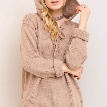 Hooded Sweater with Lace-Up Neckline Detail