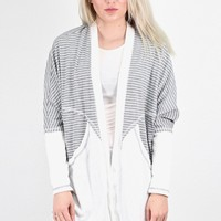 Old School Stripes + Solid Contrast Cardigan {H. Grey}
