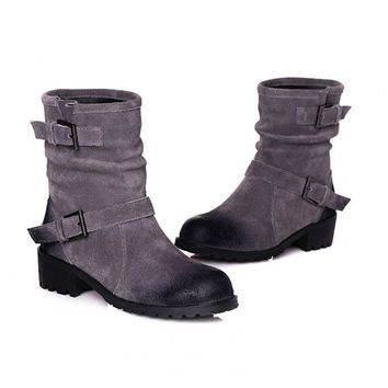 british style vintage retro martin boots round toe block chunky heels ankle boots buckle fashion riding knight shoes casual y Alternative Measures