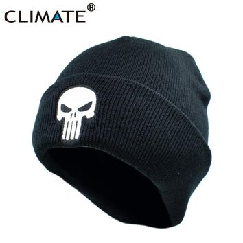 CLIMATE The Punisher Cool Black Skulls Winter Warm Beanie Men Skeleton Justiceiro Castigador Knitted Hat Adult Teenagers Boy