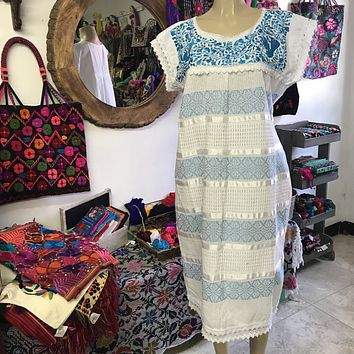 Oaxaca White Midi Loomed Dress with Blue Embroidery