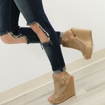 Chinese Laundry Dream On Camel Micro Suede Peep Toe Wedge