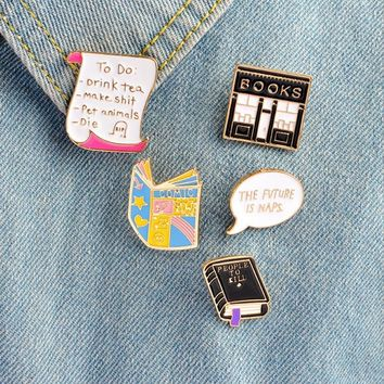 Trendy Bookstore book unicorn metal brooch button pins denim jacket pin jewelry decoration badge for clothes lapel pins AT_94_13