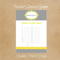 What's in Her Bag?- Bridal Shower- Printable Bridal Shower Game- Instant Digital Printable- Yellow & Grey Polka Dot  Background