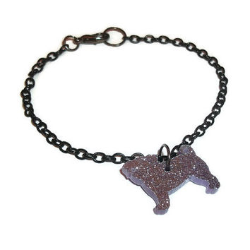 Pug Charm Bracelet, Purple Dog Kawaii Cute Bracelet, Glitter Lilac Quirky Laser Cut, Animal Jewelry Perspex