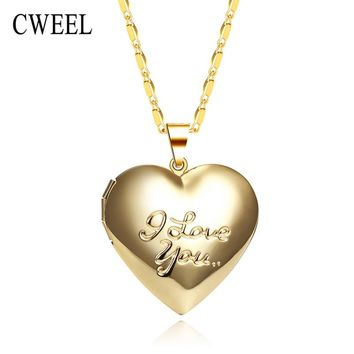 CWEEL Silver/Gold Color Necklace For Women/Men Heart Love Picture/Photo Frame Lockets Romantic Pendants Holiday Accessories